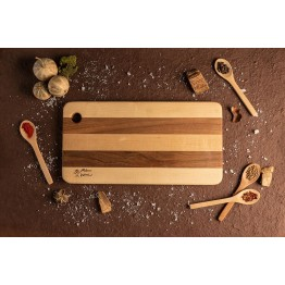Дъска за рязане и сервиране от клен и орех 40 см